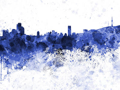 Korea Painting - Seoul Skyline In White Background by Pablo Romero