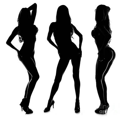 Tall Nude Woman Photograph - 3 Sexy Modeling Silhouettes by Jt PhotoDesign