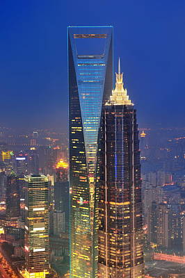 Lovely Lavender - Shanghai aerial at dusk by Songquan Deng