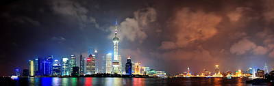 Photograph - Shanghai Skyline At Night by Songquan Deng