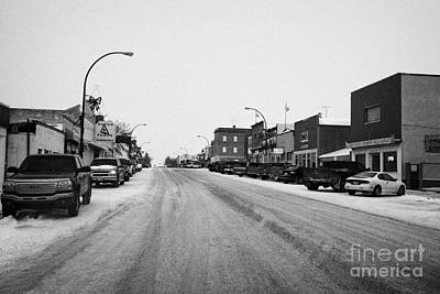 shops and stores on the main street Biggar Saskatchewan Canada in winter Art Print
