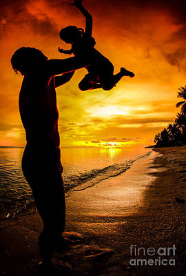 Little Sister Photograph - Silhouette Family Of Child Hold On Father Hand by Anek Suwannaphoom