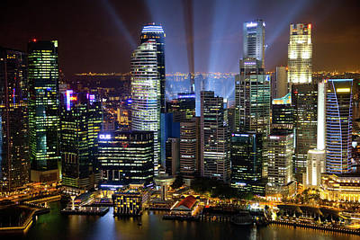 Singapore Downtown Overview At Night Art Print by Jaynes Gallery