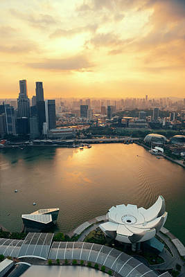 Photograph - Singapore Sunset by Songquan Deng