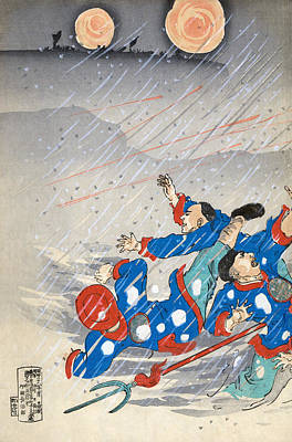 Winter Storm Drawing - Sino Japanese War, C1895 by Granger