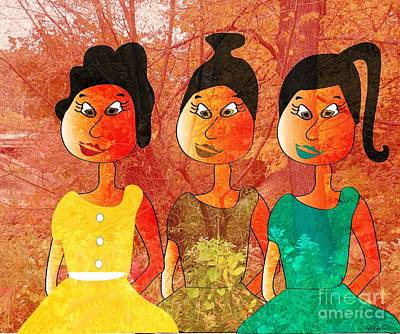 Art Print featuring the drawing Sisters by Iris Gelbart