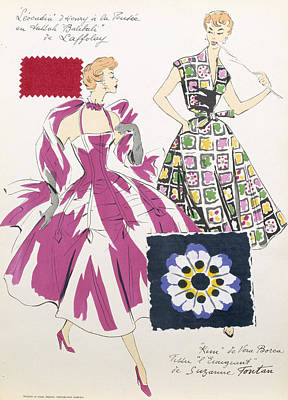 Clothes Clothing Drawing - Sketches And Fabric Swatches by French School
