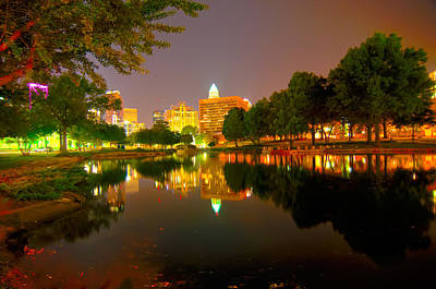 Art Print featuring the photograph Skyline Of Uptown Charlotte North Carolina At Night by Alex Grichenko