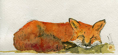 Sleeping Red Fox Print by Juan  Bosco