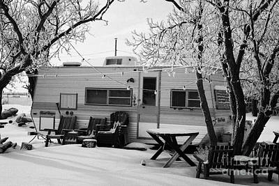 small trailer mobile home covered in snow in rural village of Forget Saskatchewan Canada Art Print by Joe Fox