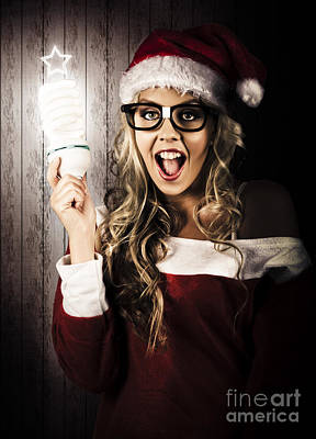 Ambition Photograph - Smart Female Santa Claus With Christmas Idea by Jorgo Photography - Wall Art Gallery