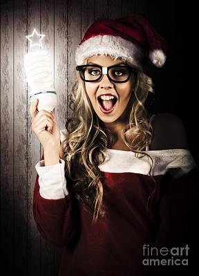 Smart Female Santa Claus With Christmas Idea Art Print