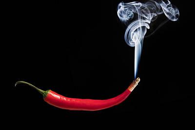 Smoking Red Hot Chilli Pepper Art Print by Matthew Gibson