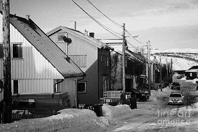 Snow Covered Street Of Traditional Wooden Houses In Kirkenes Finnmark Norway Europe Art Print