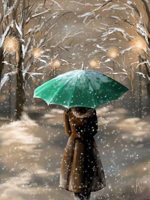 Winter Landscapes Painting - Snow by Veronica Minozzi