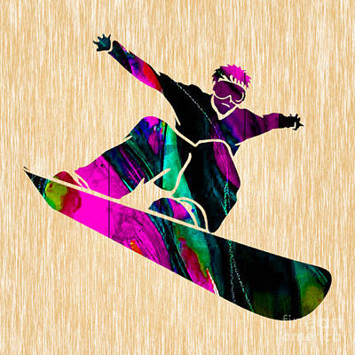 Mixed Media - Snowboarding by Marvin Blaine