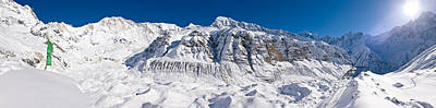 In The Distance Photograph - Snowcapped Mountain, Annapurna Base by Panoramic Images