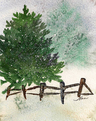 Painting - Snowy Pine Tree by Nan Wright