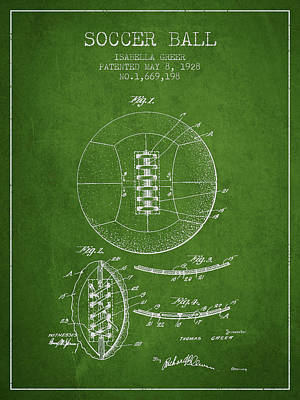 Sports Royalty-Free and Rights-Managed Images - Soccer Ball Patent from 1928 by Aged Pixel