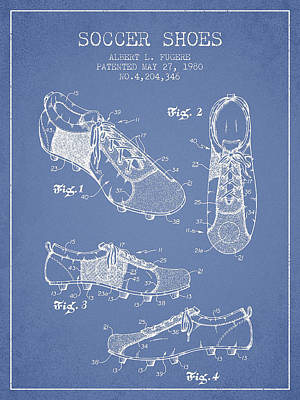 Football Royalty-Free and Rights-Managed Images - SoccerShoe Patent from 1980 by Aged Pixel