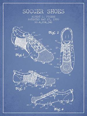 Shoe Digital Art - Soccershoe Patent From 1980 by Aged Pixel