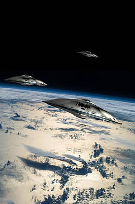 Photograph - Spaceships In Orbit Over Earth by Marc Ward