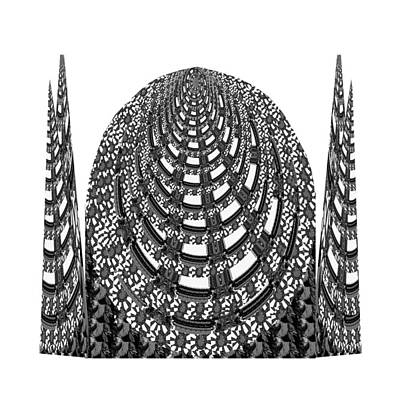 Sparkle Bnw White Pyramid Dome Ancient Arch Architecture Formation Obtained During Deep Meditation W Art Print