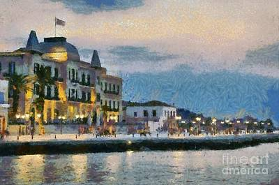 Painting - Spetses Town During Dusk Time by George Atsametakis