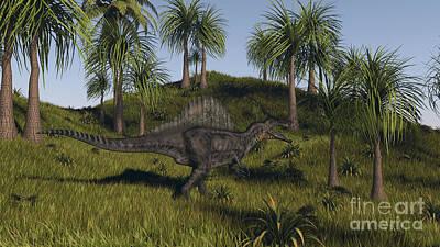 Spinosaurus Hunting In An Open Field Art Print by Kostyantyn Ivanyshen