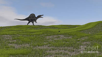 Digital Art - Spinosaurus Walking Across A Grassy by Kostyantyn Ivanyshen