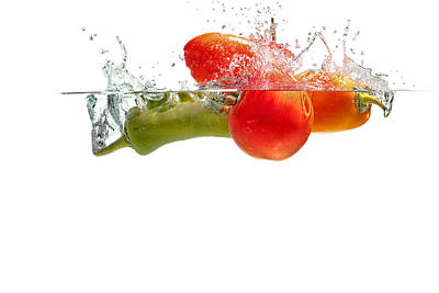 Photograph - Splashing Tomatoes by Peter Lakomy