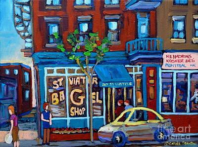 Painting - St. Viateur Bagel Shop by Carole Spandau