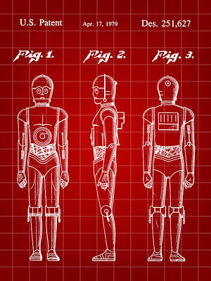 R2-d2 Digital Art - Star Wars C-3po Patent 1979 - Red by Stephen Younts