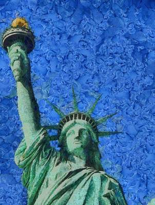 Free Mixed Media - Statue Of Liberty by Dan Sproul