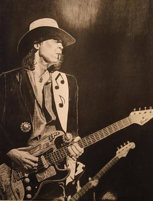 Stevie Ray Vaughan Drawing - Stevie Ray Vaughan 1984 by Charles Rogers
