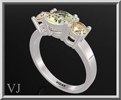 Custom Engagement Ring Jewelry - 3 Stones Ring - Yellow Topaz And Lemon Quartz Silver Engagement Ring by Roi Avidar