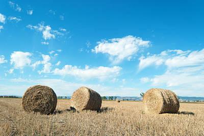Straw Bales At A Stubbel Field Art Print by Svetoslav Radkov