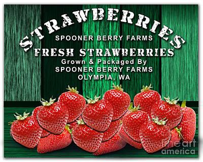 Strawberry Mixed Media - Strawberry Farm by Marvin Blaine