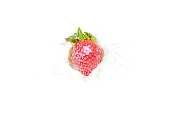 Photograph - Strawberry In Milk by Peter Lakomy