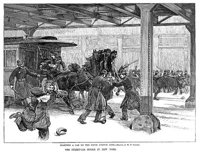 Police Officer Painting - Streetcar Strike, 1889 by Granger