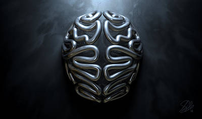 Left Hemisphere Digital Art - Stylized Thought Statue by Allan Swart