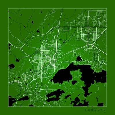 Sudbury Digital Art - Sudbury Street Map - Sudbury Canada Road Map Art On Color by Jurq Studio