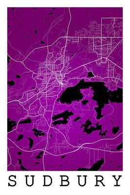 Sudbury Digital Art - Sudbury Street Map - Sudbury Canada Road Map Art On Colored Back by Jurq Studio