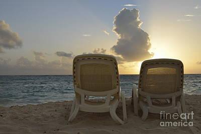 Sun Lounger On Tropical Beach Art Print by Sami Sarkis