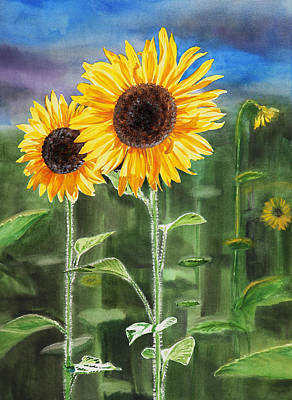 Sunflowers Royalty-Free and Rights-Managed Images - Sunflowers by Irina Sztukowski