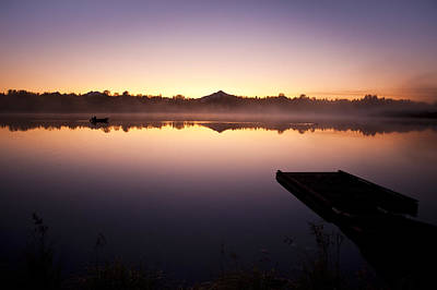 Photograph - Sunrise In Fog Lake Cassidy With Fishermen In Small Fishing Boat by Jim Corwin