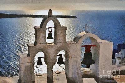 Painting - Sunset Behind A Belfry In Santorini Island by George Atsametakis