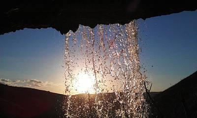 Photograph - Sunset Behind A Waterfall by Faouzi Taleb