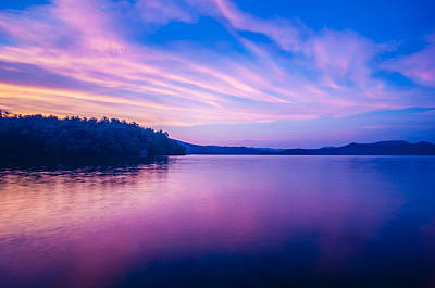 Photograph - Sunset During Blue Hour At The Lake by Alex Grichenko