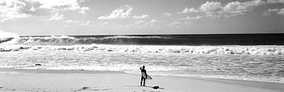 Surfer Standing On The Beach, North Art Print by Panoramic Images